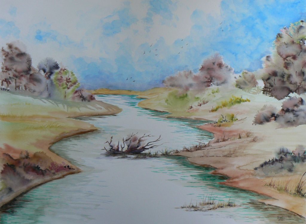 Heading Down the River Otter, 2020 (Watercolour)