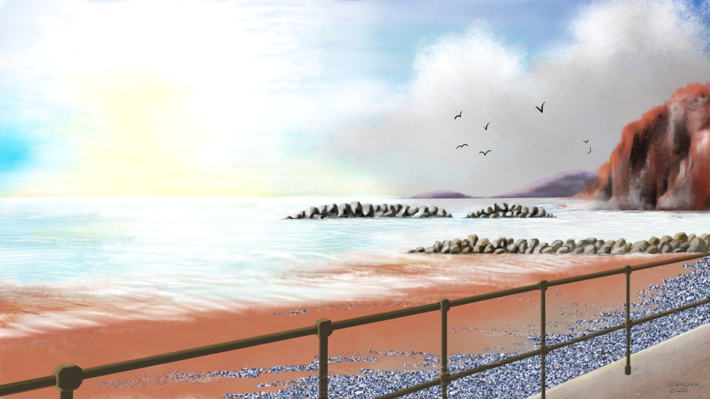 Sidmouth Beach, 2020 (Digital Art)